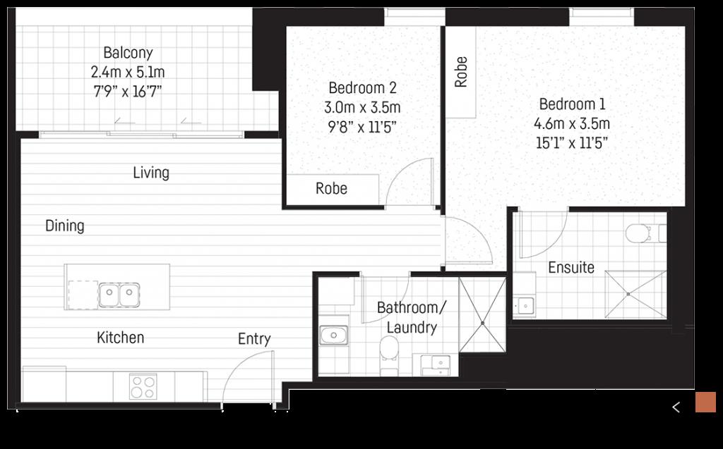 Allen 2 bedroom floorplan