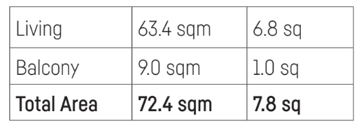 Hall apartment size in sqm